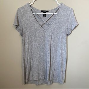 Gray vneck w/ criss-cross design